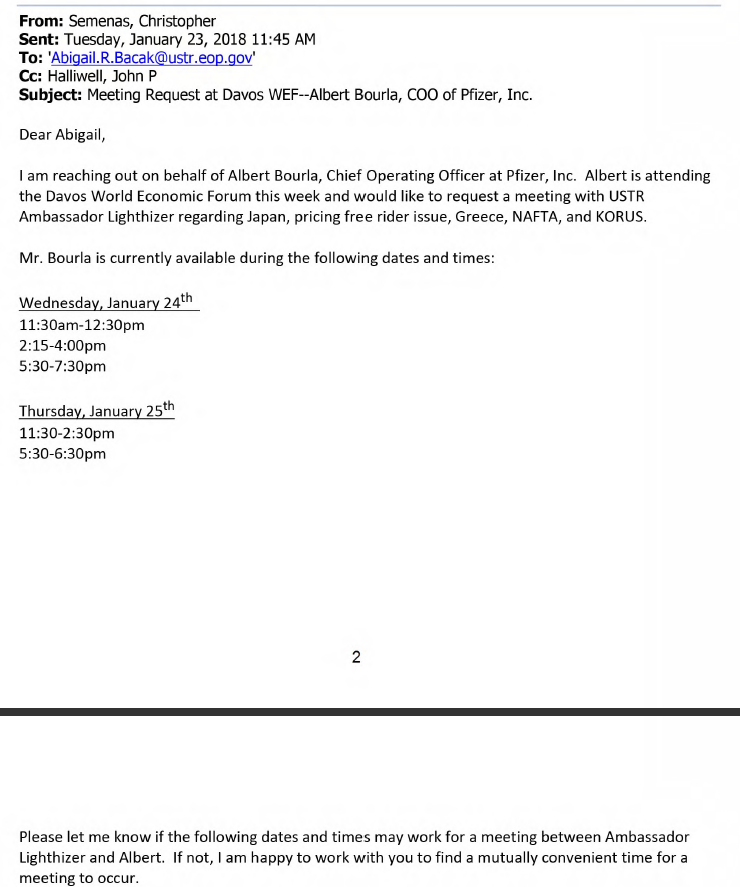 FOIA: Records Of USTR Lighthizer Bilateral Meetings At