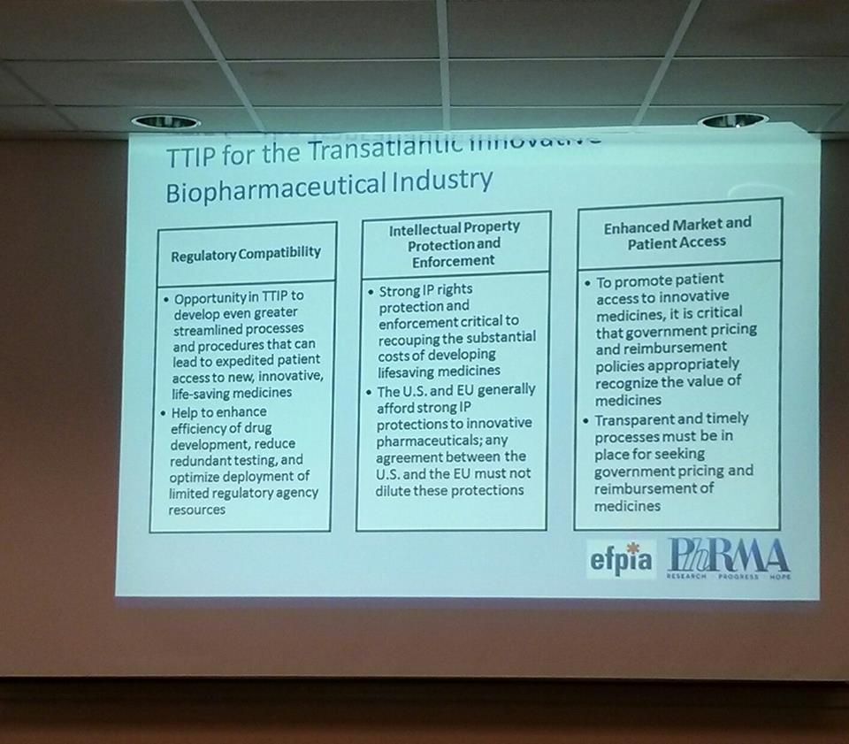 What PhRMA Wants from TTIP Oct 1, 2014