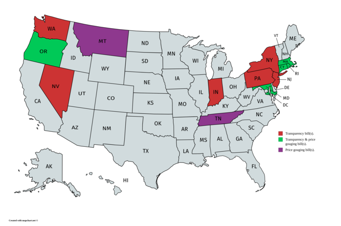 map of states with transparency bills